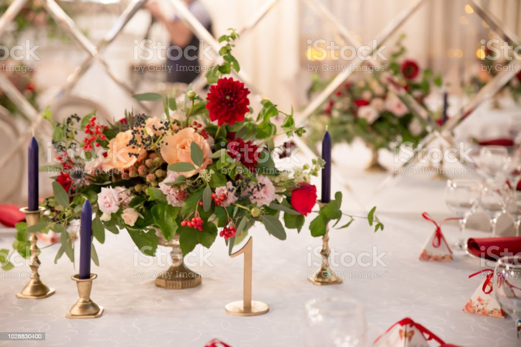 Table Decor For Wedding Ceremony Table Setting Flowers Red And White Decor Stock Photo More Pictures Of Aisle