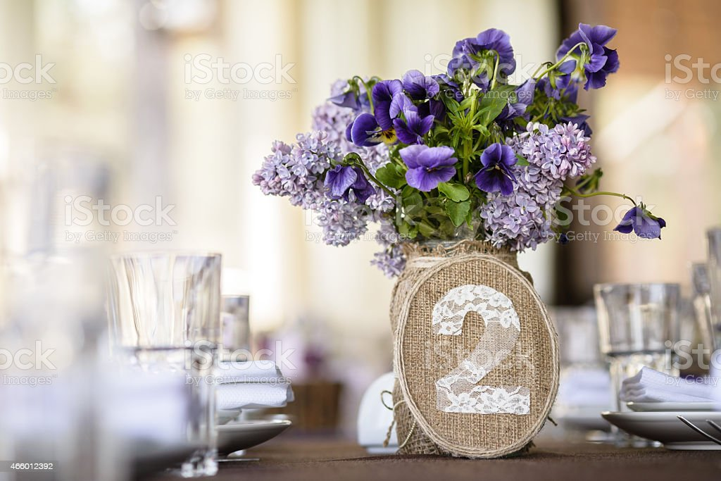 table decor with flowers, number stock photo