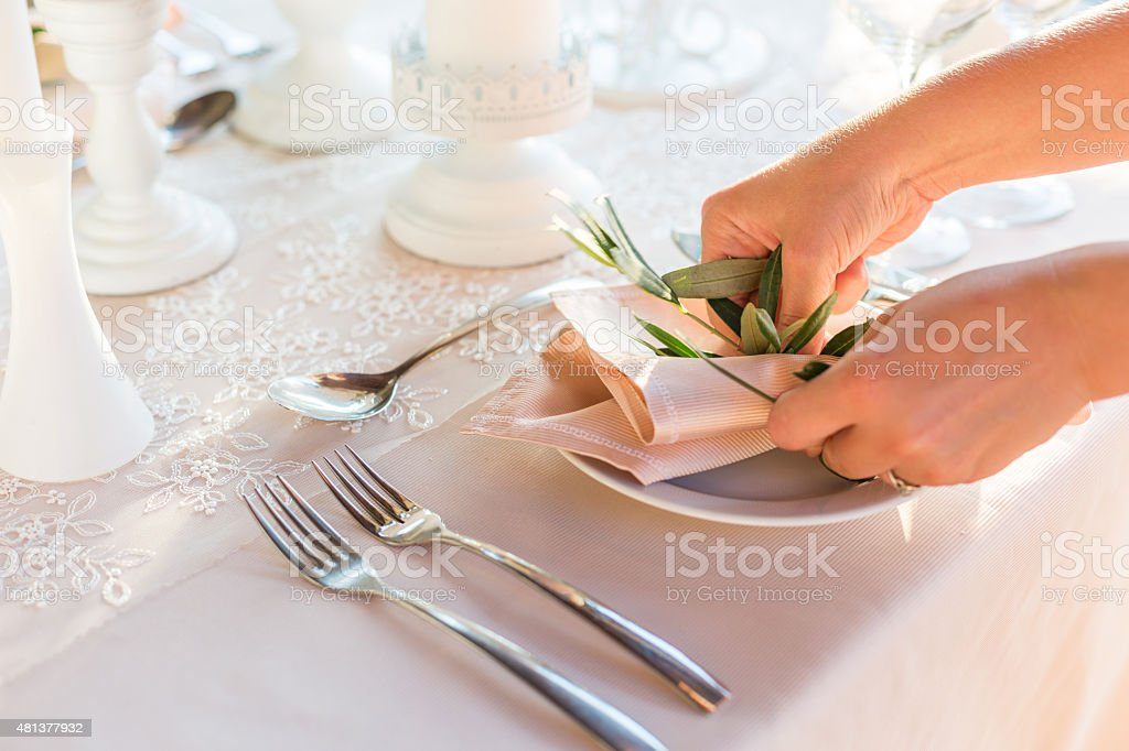 table decorated with flowers stock photo