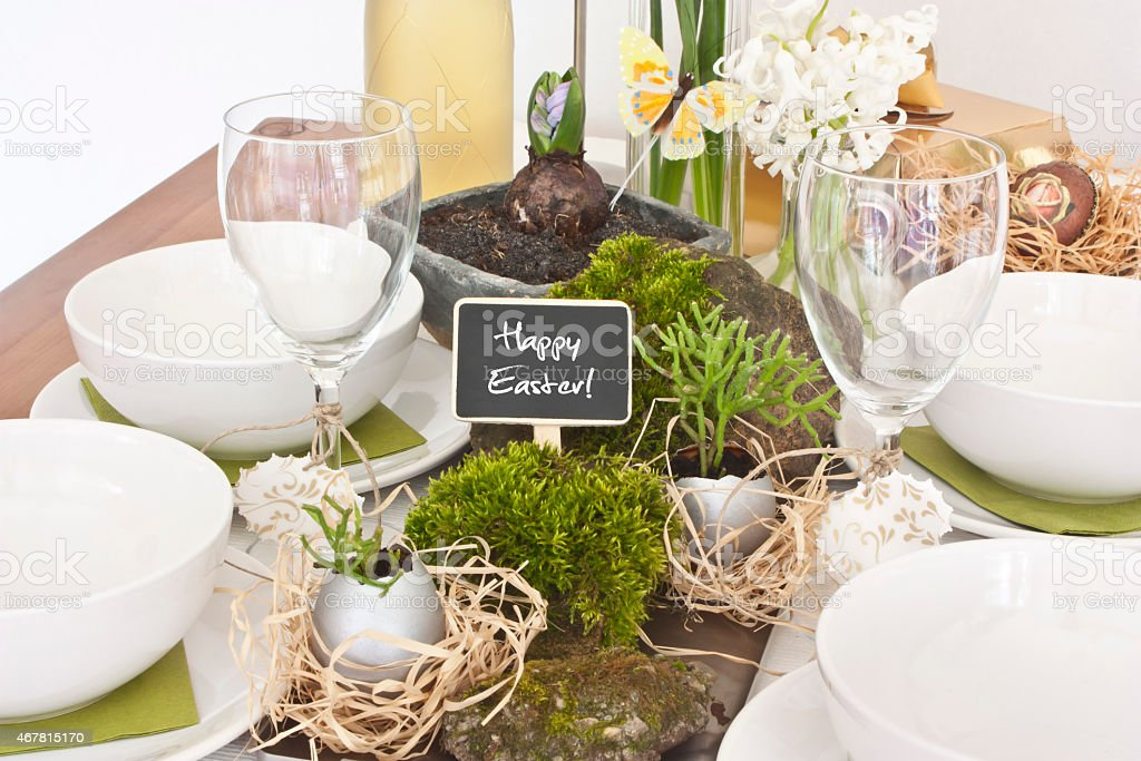 Table decoration at easter with plants stock photo