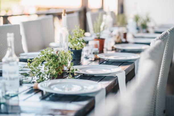 table decoration for a special occasion - white plates and green plants. eco/nature friendly decoration. - muita comida imagens e fotografias de stock