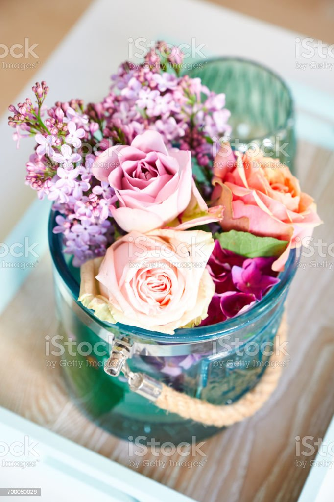 Table decoration for bithday party with flowers stock photo