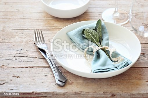 Tableskape for Thanksgiving dinner. Table decoration for festive herbst family party. Rustic style, selective focus