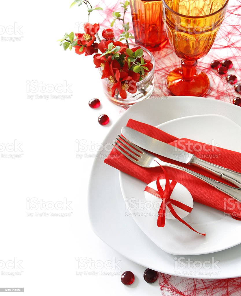 Table decoration in red royalty-free stock photo