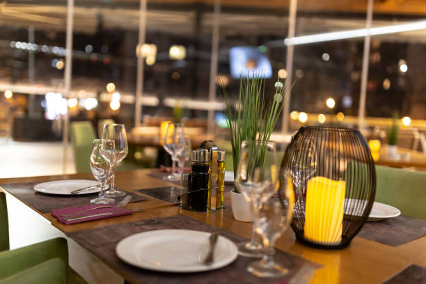 Table decoration in restaurant stock photo
