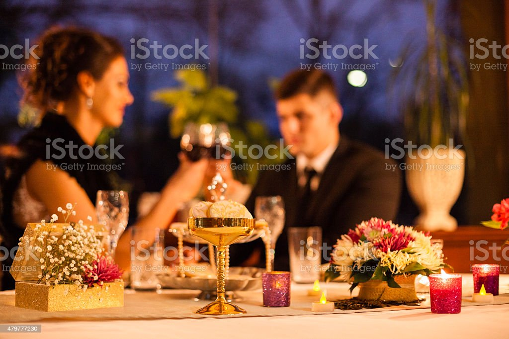 Table decoration on romantic dinner at the restaurant stock photo