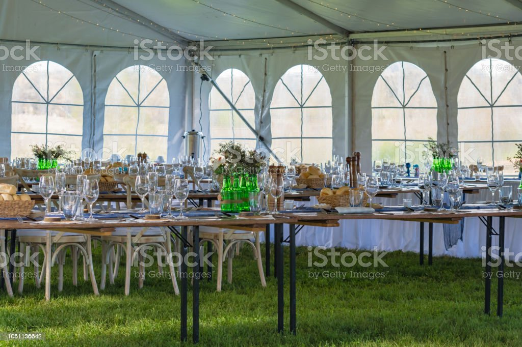 Table decorations - Wedding in a Marquee stock photo