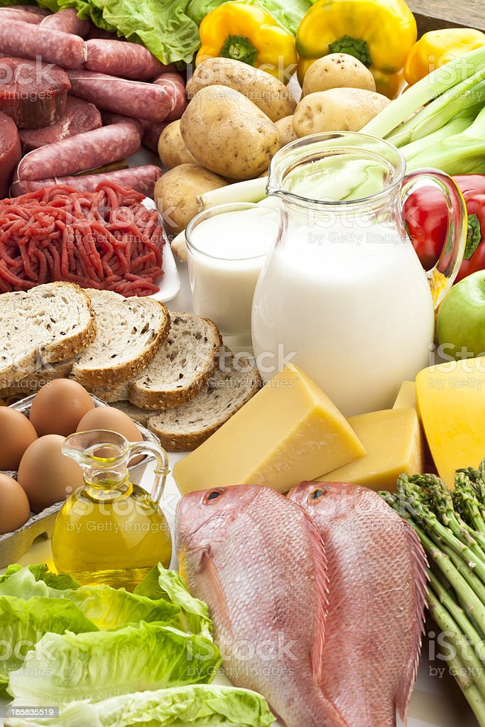 Table filled with different types of foods royalty-free stock photo