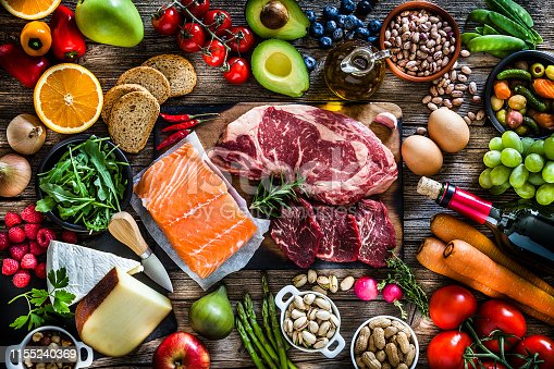 Top view of a rustic wooden table filled with different types of food. At the center of the frame is a cutting board with beef steak and a salmon fillet and all around it is a large variety of food like fruits, vegetables, cheese, bread, eggs, legumes, olive oil and nuts. A red wine bottle is also included in the composition. DSRL studio photo taken with Canon EOS 5D Mk II and Canon EF 70-200mm f/2.8L IS II USM Telephoto Zoom Lens