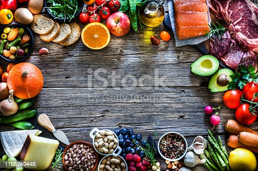 Top view of a rustic wooden table with different types of food placed all around the border making a frame and leaving a useful copy space for text and/or logo at the center. The composition includes a cutting board with beef steak and a salmon fillet, fruits, vegetables, cheese, bread, eggs, legumes, olive oil and nuts. DSRL studio photo taken with Canon EOS 5D Mk II and Canon EF 70-200mm f/2.8L IS II USM Telephoto Zoom Lens