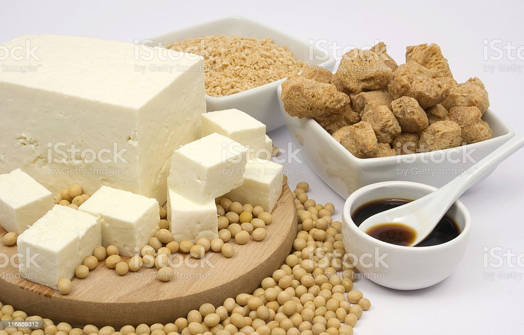 A table filled with soy products stock photo