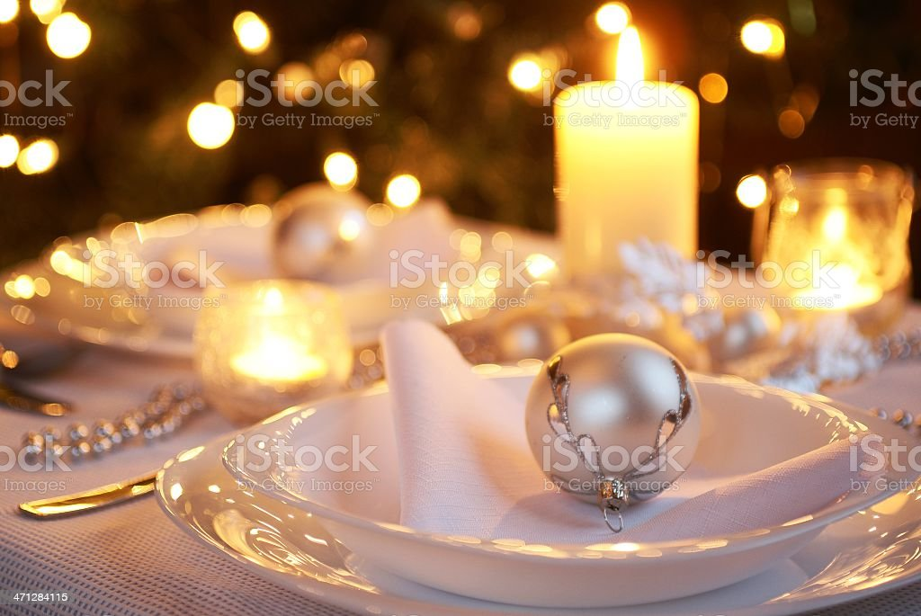 Table for Christmas dinner royalty-free stock photo