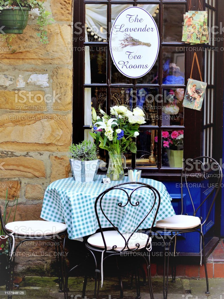 Table for three, Bakewell, Derbyshire, UK. stock photo