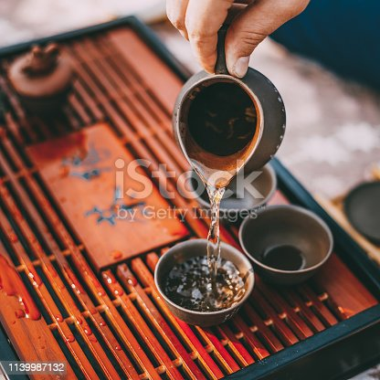 Close-up Table For Traditional Tea Ceremony Utensils, Chinese Teacup