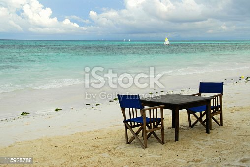 Romantic dinner at Kiwengwa Beach, Zanzibar, Tanzania.