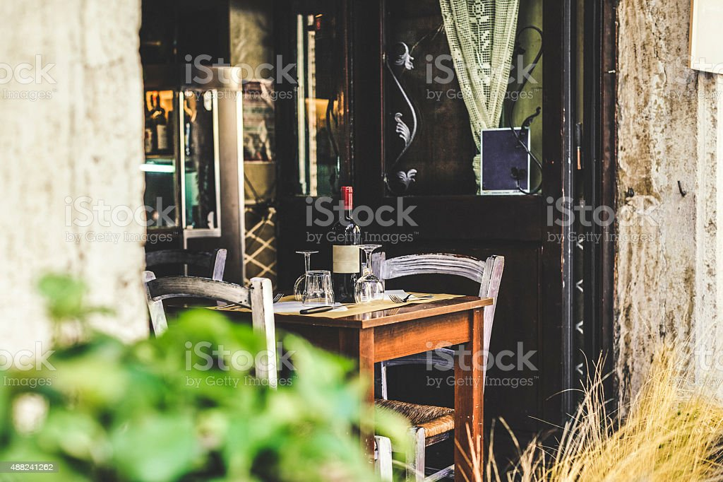 Table for two in an Italian restaurant stock photo