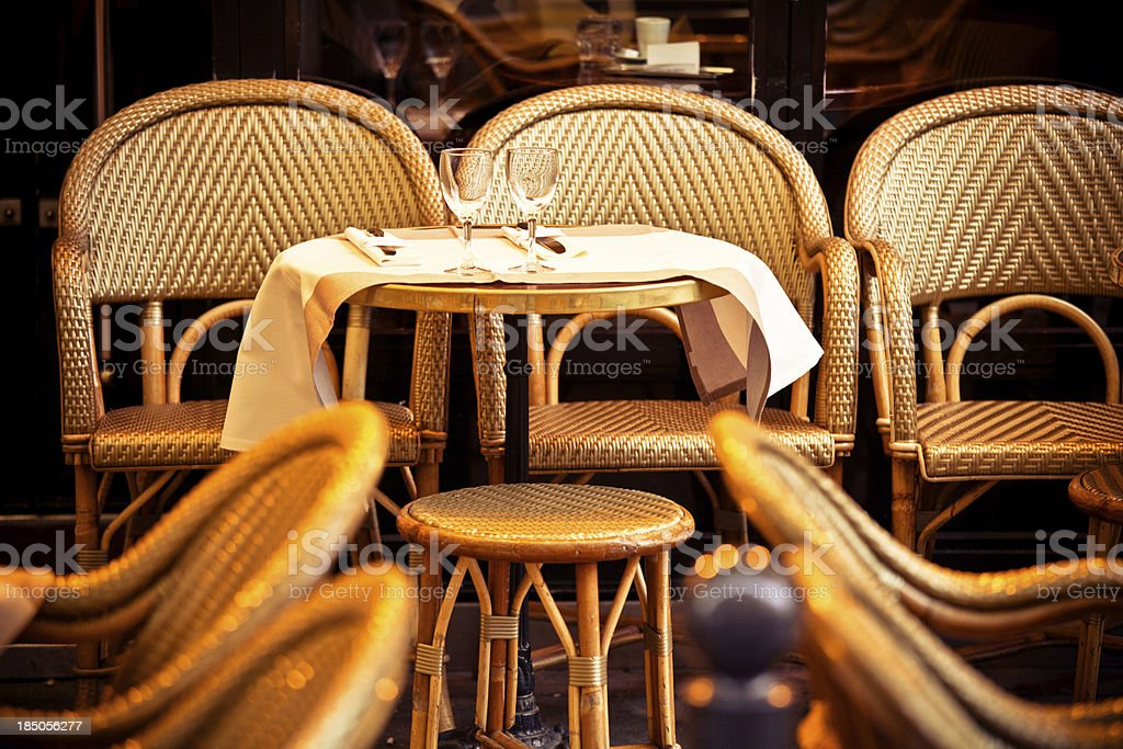Table for Two, Typical French Cafè in Paris royalty-free stock photo