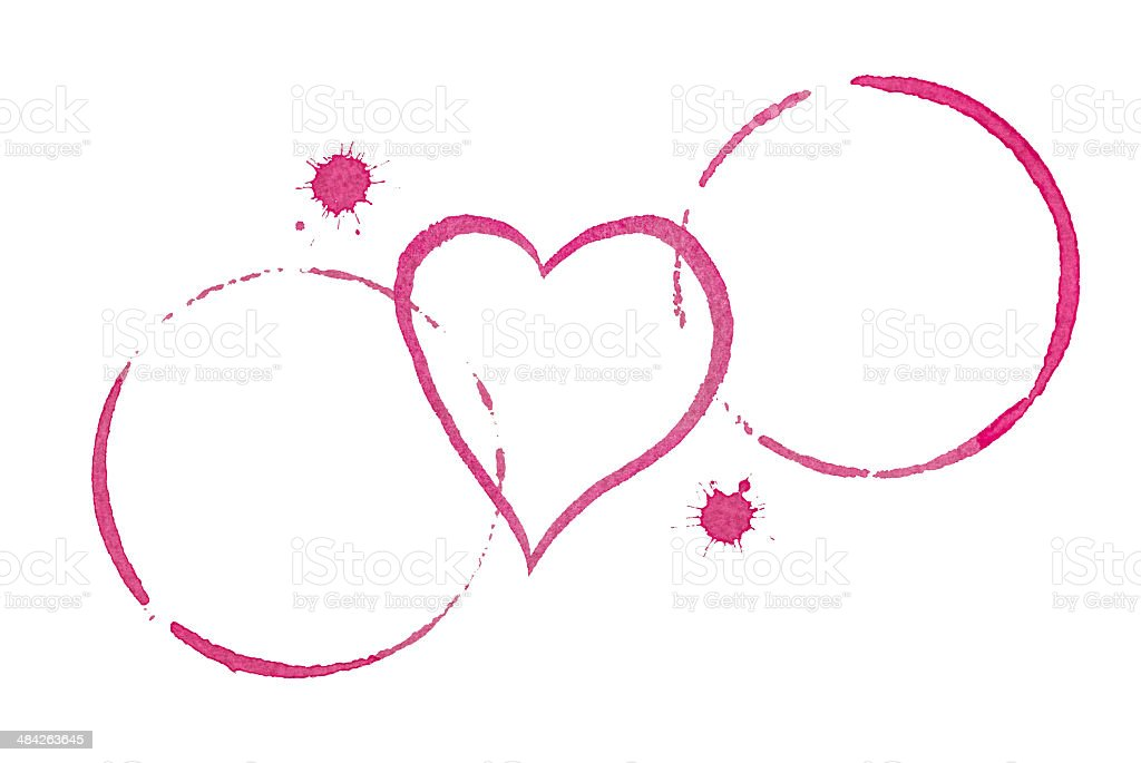 Table for Two Wine Stains and Heart Dating Concept stock photo