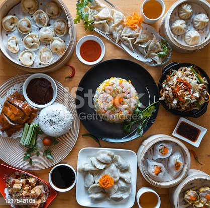 Authentic Chinese food spread on table.