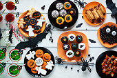 Table full of Halloween sweets