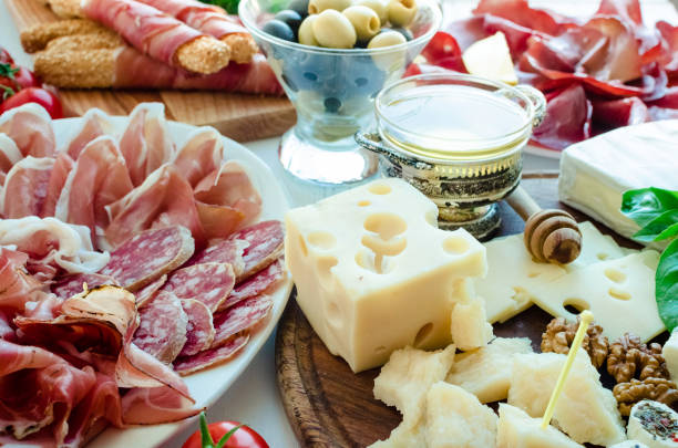 Table full of mediterranean appetizers stock photo