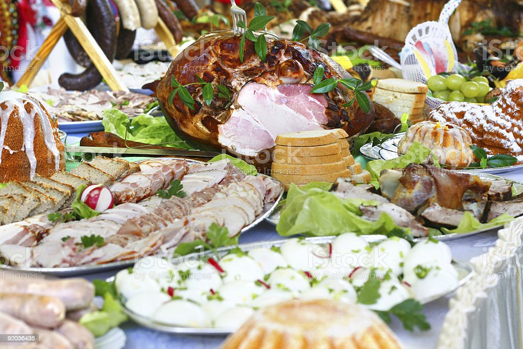 Table full with food for Easter dinner stock photo
