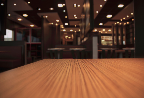 table in a restaurant, selective focus, shallow depth of field