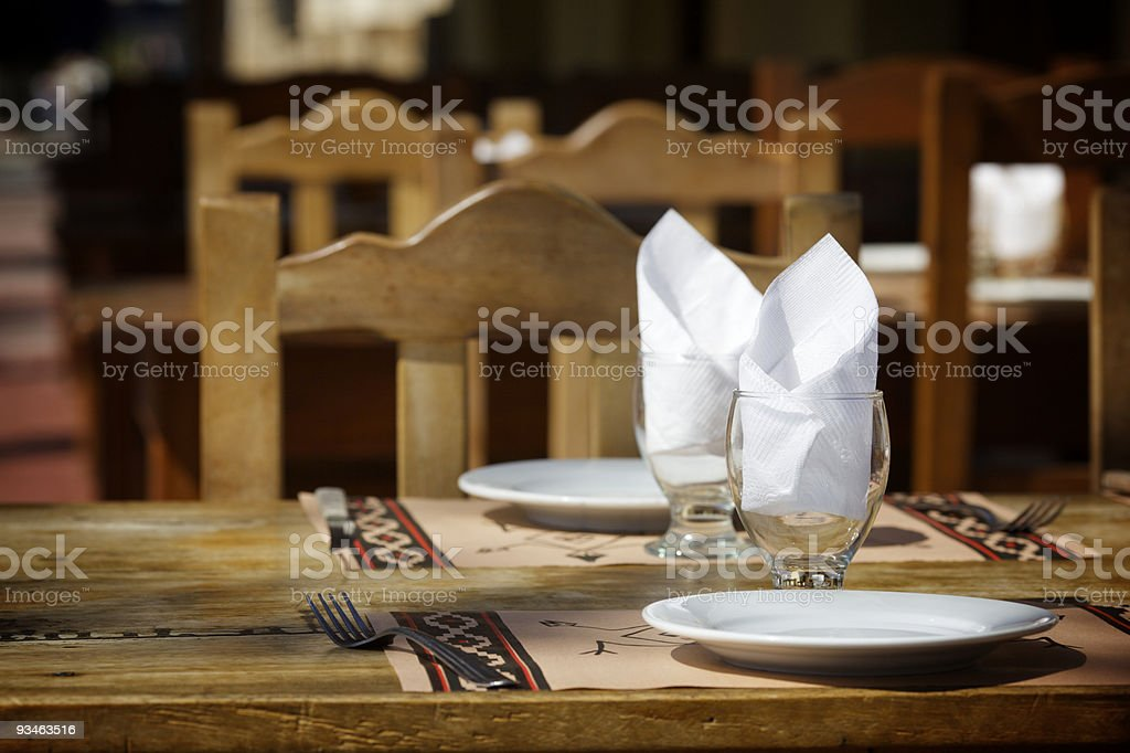 Table in a street restaurant royalty-free stock photo
