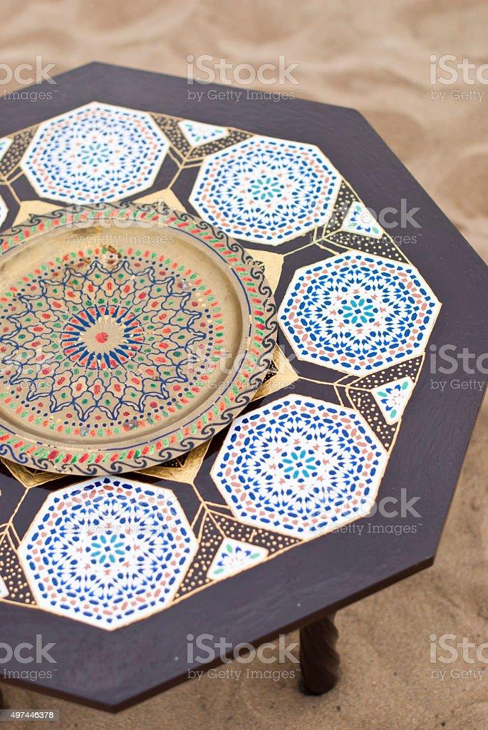 table in desert sahara morocco africa yellow sand