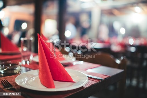 Table in the restaurant ready to serve food.