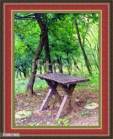 istock Table in the woods (way of painting techniques) 470927602