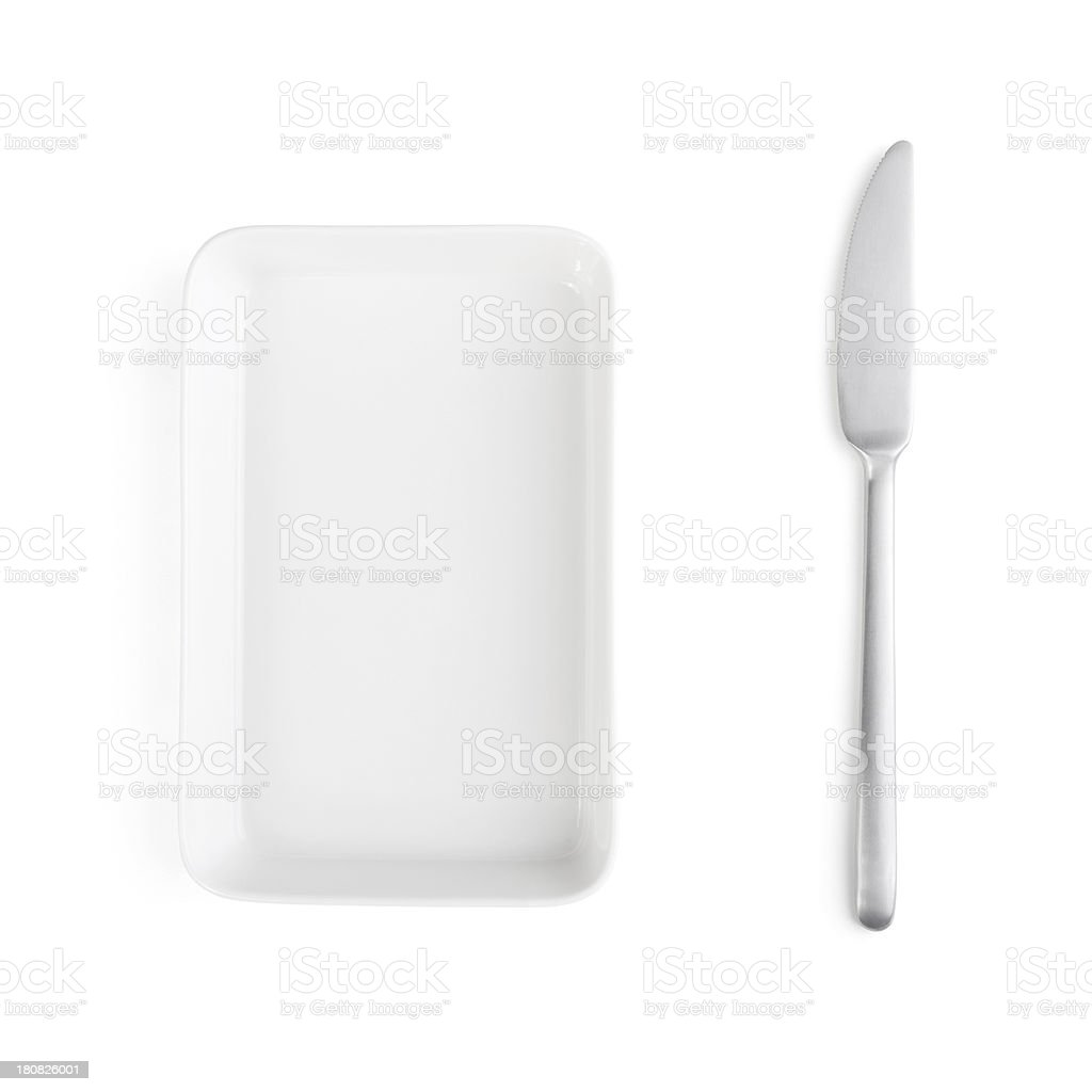 Table Knife and Plate royalty-free stock photo