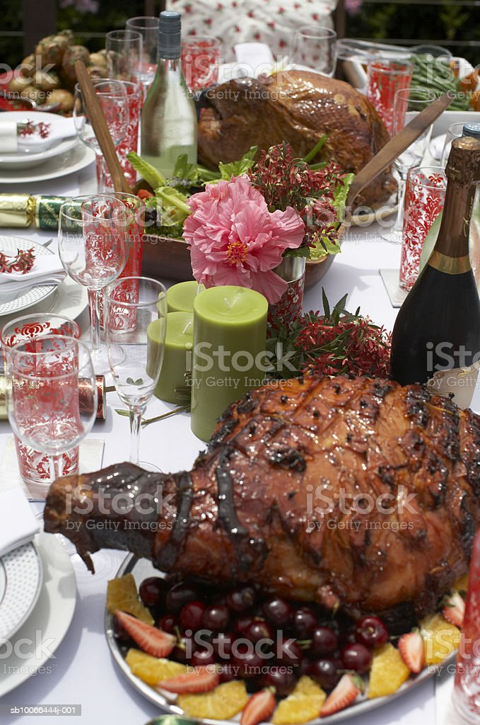 Table laid with feast outdoors royalty-free stock photo