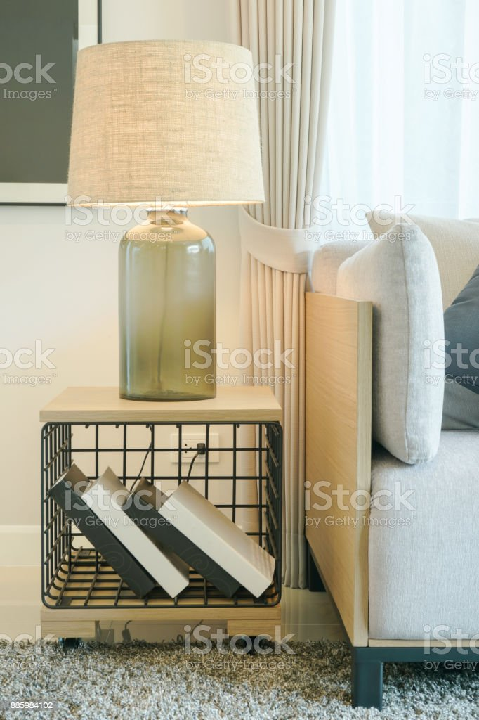 Table Lamp On Wooden Side Table Next To Sofa In Modern Style Living Room Stock Photo Download Image Now Istock
