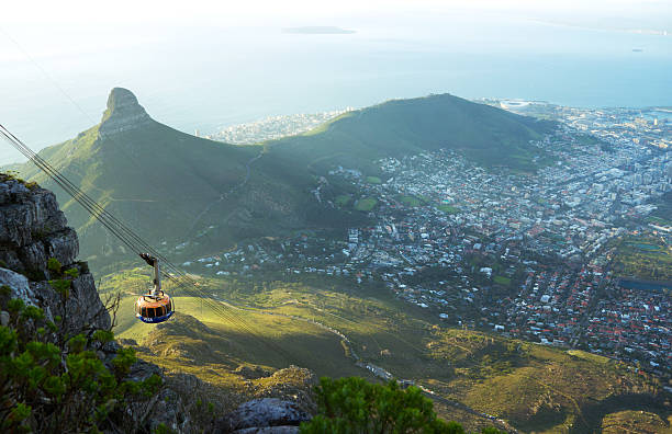 table mountain aerial cableway - table mountain national park stock pictures, royalty-free photos & images
