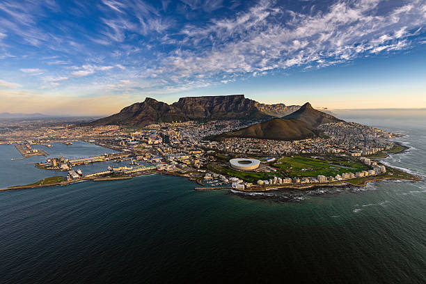 table mountain aerial - cape peninsula stock pictures, royalty-free photos & images
