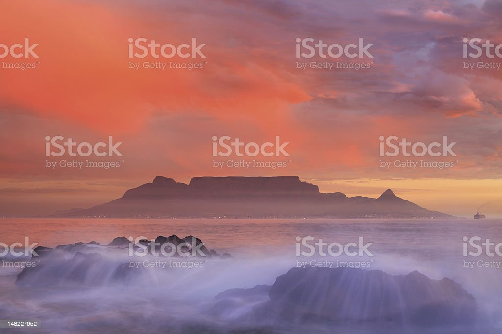Table Mountain and cape town stock photo