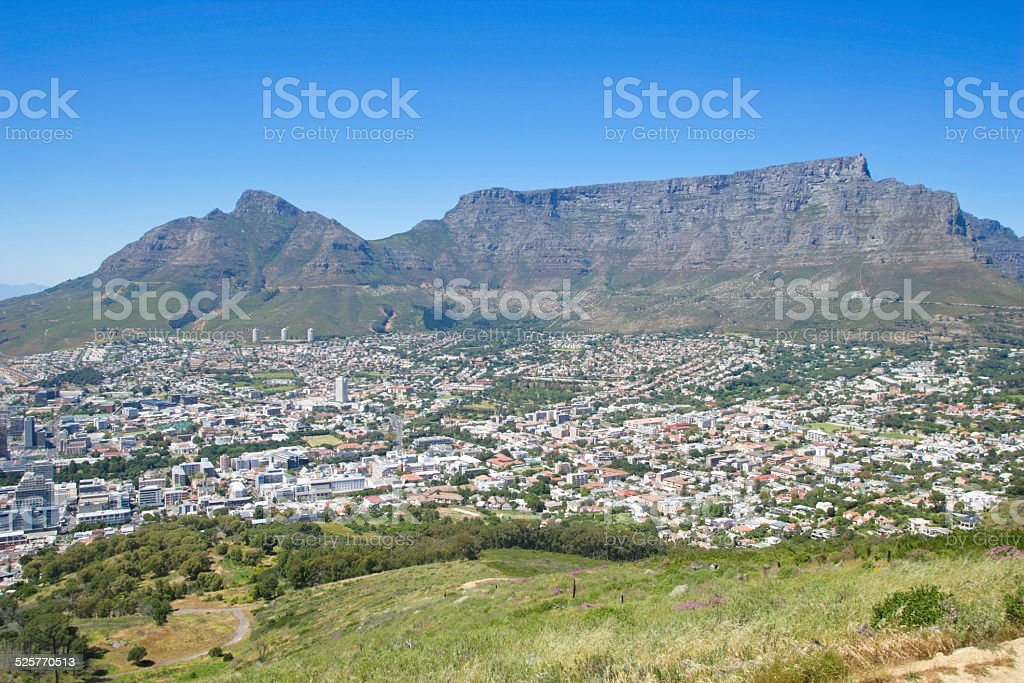 Table mountain and devil`s peak in Cape Town stock photo