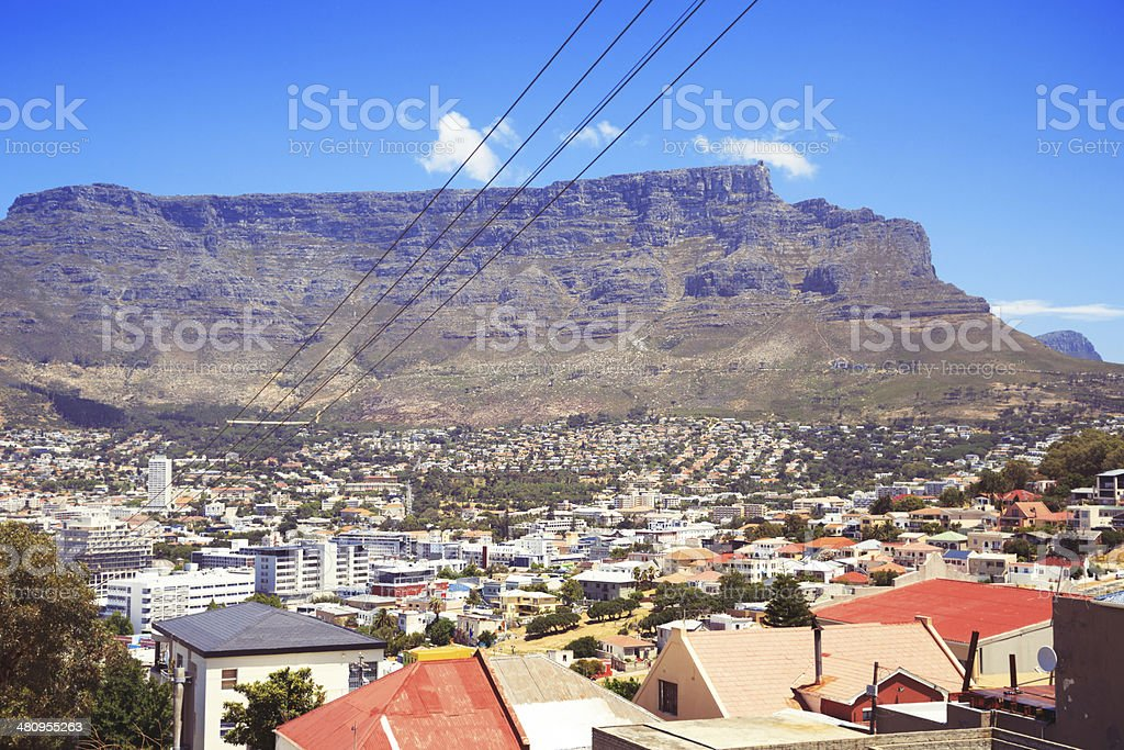 Table Mountain and Malay Quarter in Cape Town stock photo