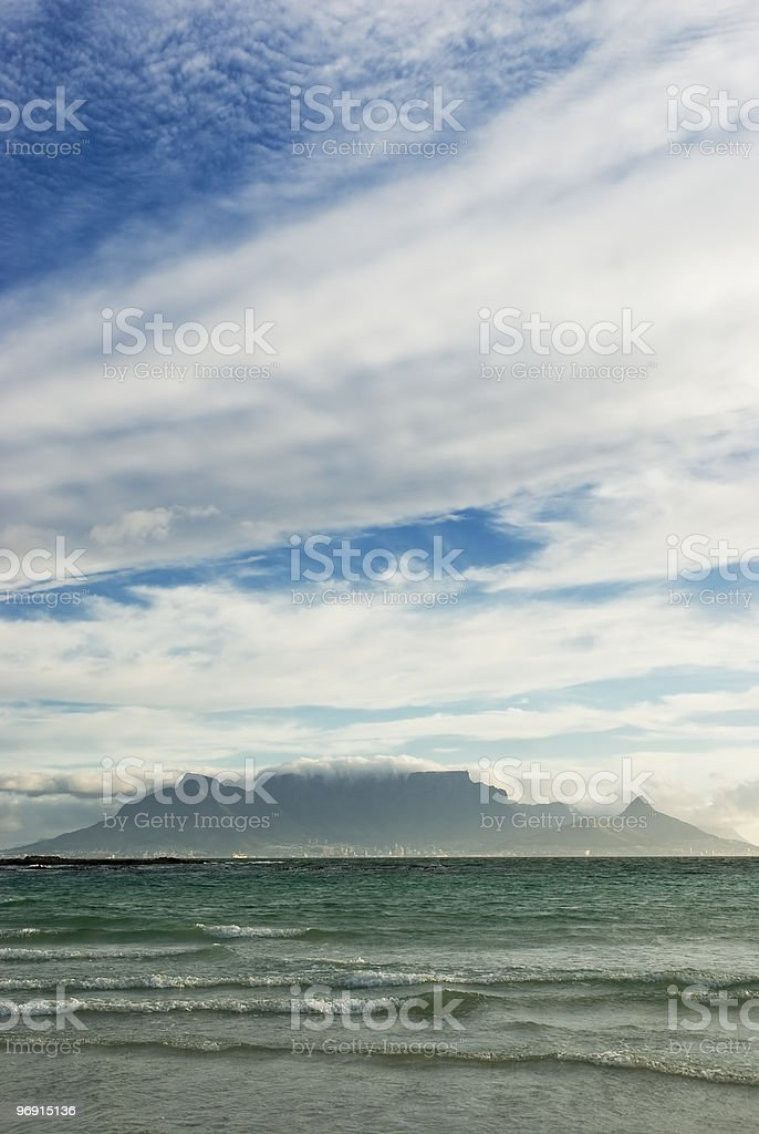 Table Mountain and waves royalty-free stock photo