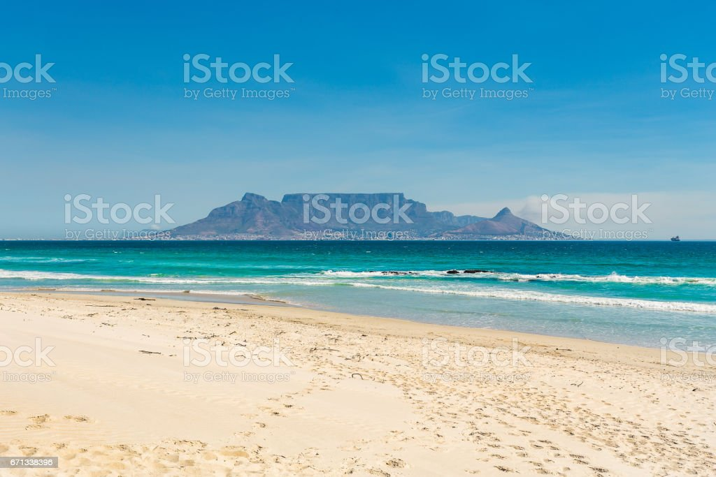 Table Mountain as seen from Bloubergstrand stock photo