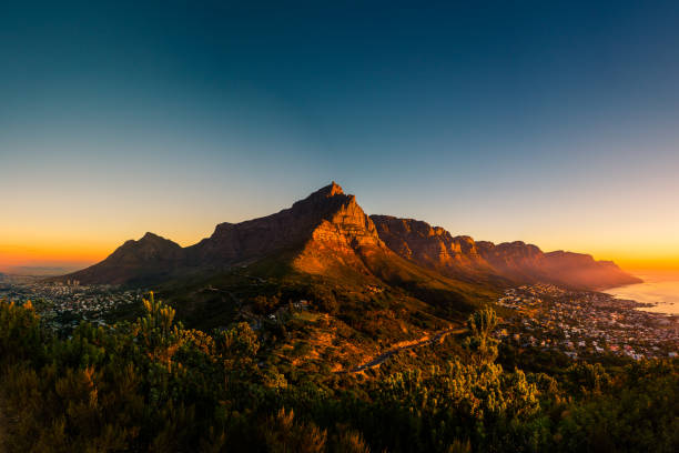 Table Mountain as seen from the Lion's Head stock photo