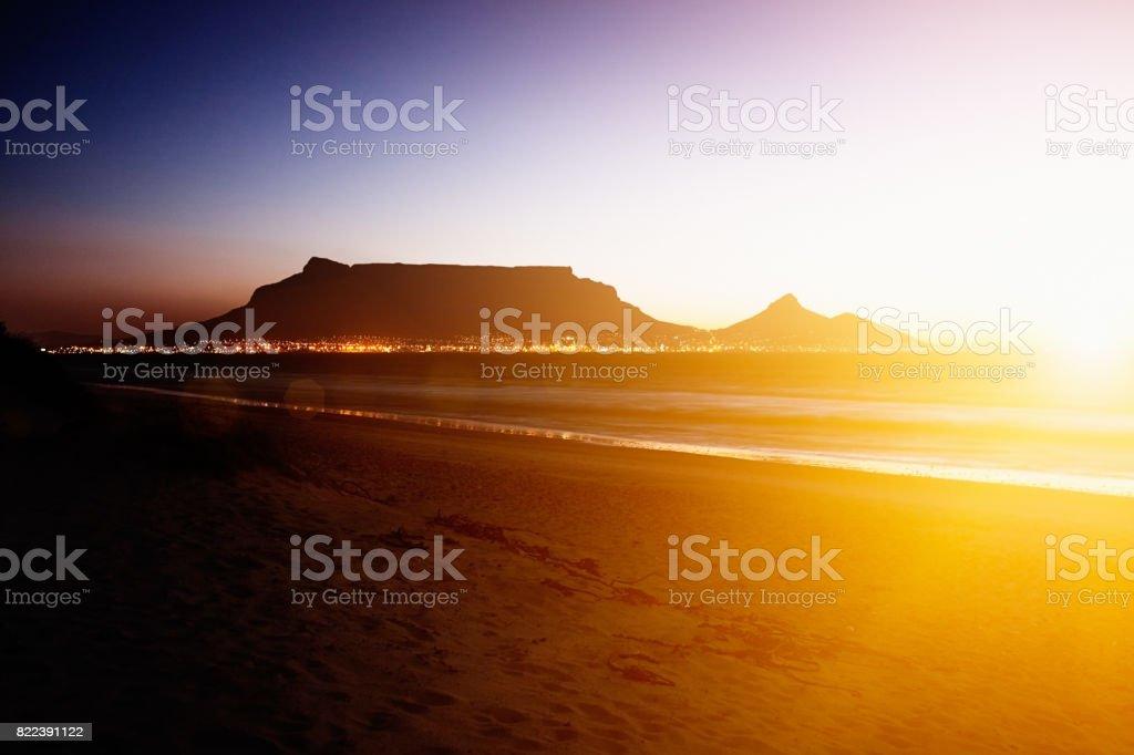 Table Mountain at twilight stock photo