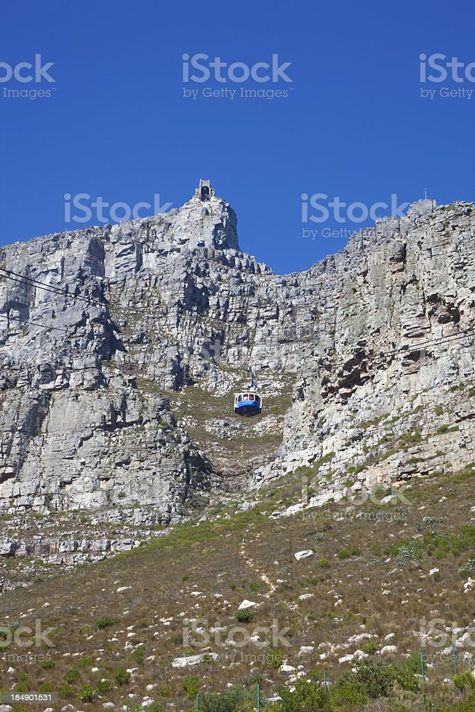 Table Mountain cable car rises to station on summit royalty-free stock photo