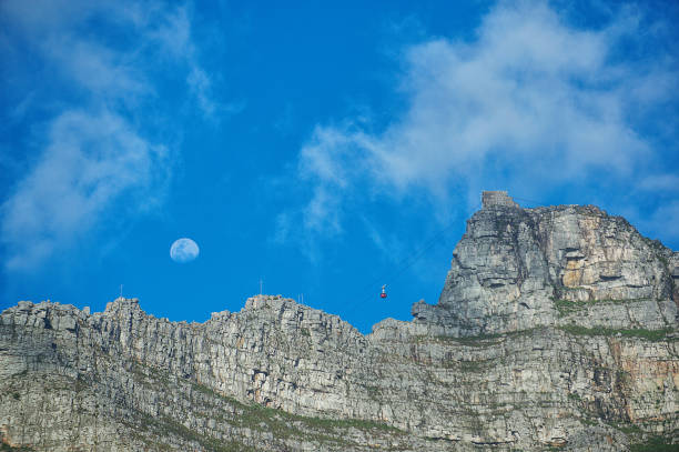 Table Mountain Cable Car with full moon stock photo