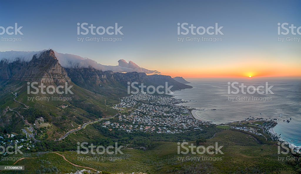 Table Mountain, Camps Bay, Cape Town - Sunset stock photo