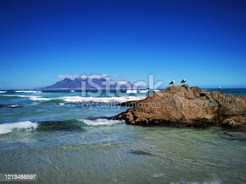Table Mountain coast in Cape Town South Africa long exposure