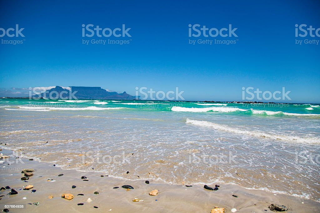 Table Mountain from Blouberg stock photo