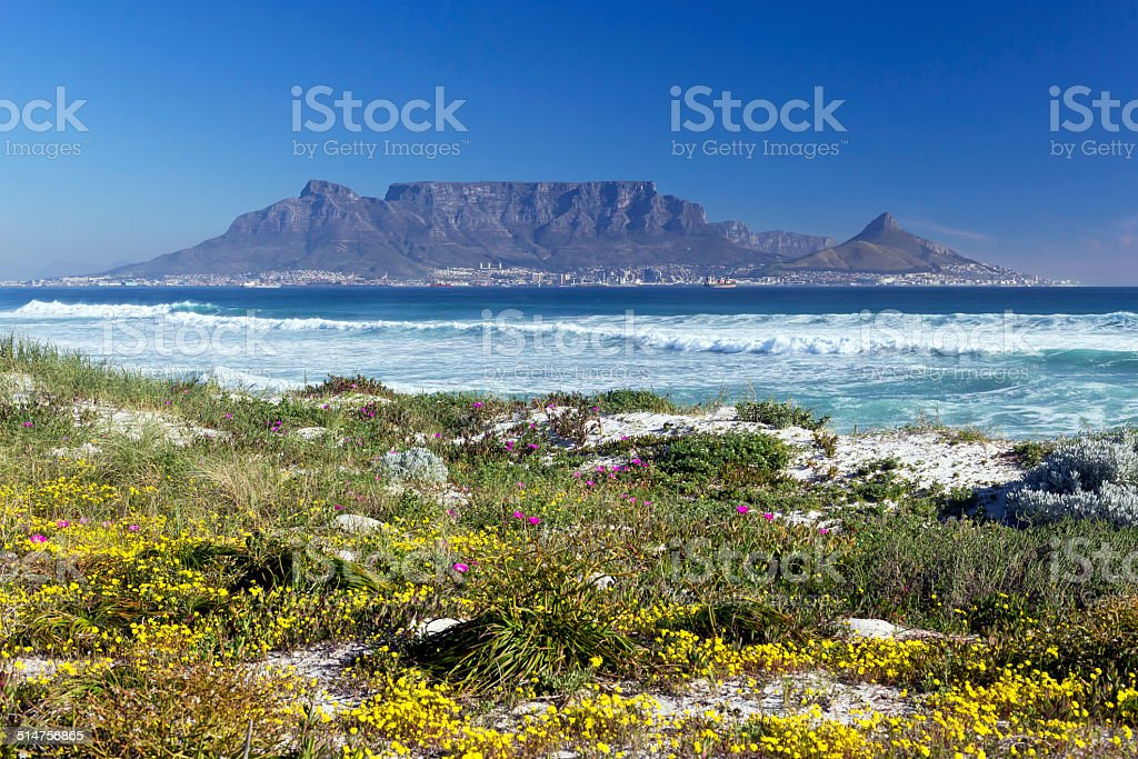 Table Mountain from Bloubergstrand, West Beach stock photo