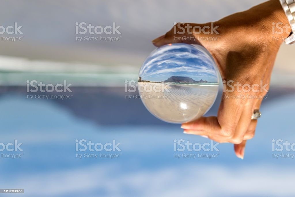 Table Mountain in Crystal Ball stock photo